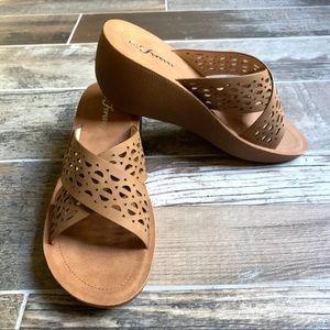 NWOT Forever Tan Criss-Cross Wedge Sandals